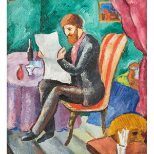 Władysław Jahl (1886 Jarosław – 1953 Paryż), Artysta czytający gazetę