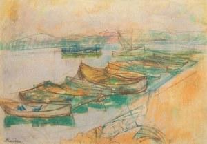 Zygmunt Landau (1898 Łódż - 1962 Tel Aviv), Łodzie rybackie nad morzem galilejskim, lata 50. XX w.