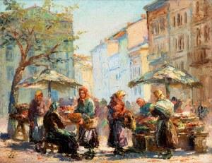 Erno Erb (1878 lub 1890 Lwów - 1943 tamże), Targ warzywny we Lwowie przed Ratuszem