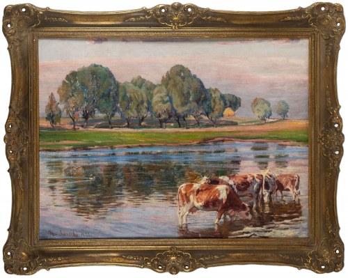 Kazimierz Lasocki (1871 Gąbin – 1952 Warszawa), Krowy u wodopoju, 1933 r.