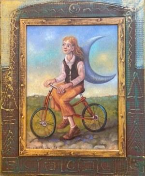 Dariusz Miliński, KSIĘŻYCOWA ROWERZYSTKA, 30 x 40 cm.