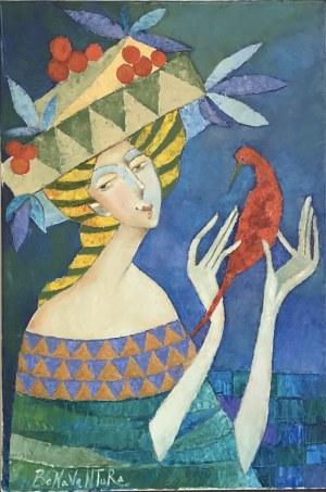 Jan Bonawentura Ostrowski, DZIEWCZYNA Z PTASZKIEM, 50 x 75 cm.