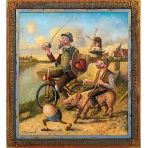 Dariusz MILIŃSKI (ur. 1957), Don Kichot i Sanczo Pancza wyprzedzeni przez jajko, 2021