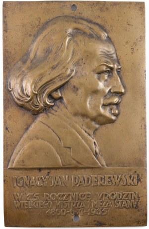 PLAKIETA, IGNACY JAN PADEREWSKI, 1935