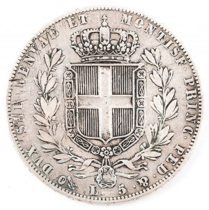 5 LIRÓW, Sardynia, Karol Albert, 1844