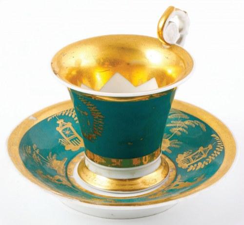 FILIŻANKA ZE SPODKIEM, Rosja, Wierbiłki, Gardner, ok. 1825