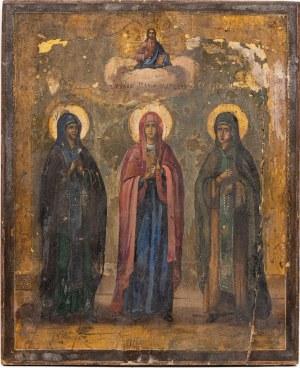 IKONA MARIA MAGDALENA I DWIE ŚWIĘTE, Rosja, 1 poł. XIX w.