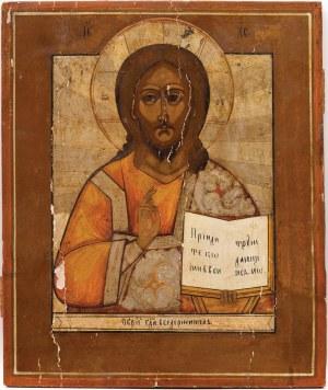 IKONA, CHRYSTUS PANTOKRATOR, Rosja, 2 poł. XIX w.