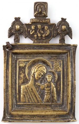 IKONA PODRÓŻNA, MATKA BOŻA KAZAŃSKA, Rosja, XIX w.