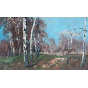Hans Dressler, Pejzaż leśny z sarnami