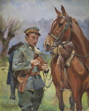 Jerzy KOSSAK, PORTRET ŻOŁNIERZA Z KONIEM