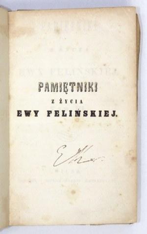 FELIŃSKA Ewa - Pamiętniki z życia ... T. 3. 1856