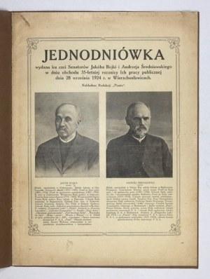 JEDNODNIÓWKA wydana ku czci senatorów Jakóba Bojki i Andrzeja Średniawskiego w dniu obchodu 35-letniej rocznicy Ich prac...