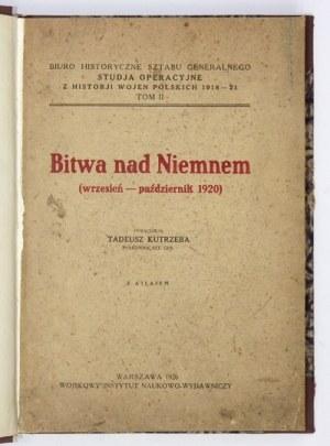 KUTRZEBA Tadeusz - Bitwa nad Niemnem (wrzesień-październik 1920). Z atlasem. Warszawa 1926. Wojsk. Inst. Nauk.-Wyd....