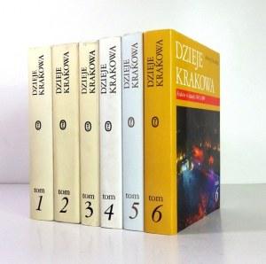 DZIEJE Krakowa. T. 1-6 (KOMPLET). Kraków 1992-2004. Wydawnictwo Literackie. 4. oprawa oryginalna płótno,...