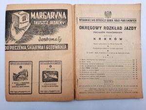 Okręgowy Rozkład Jazdy Pociągów Pasażerskich okręg Kraków - Warszawa 1950