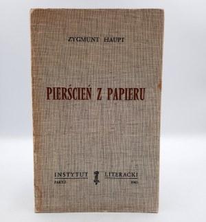 Haupt Zygmunt - Pierścień z papieru - Instytut Literacki Paryż 1963