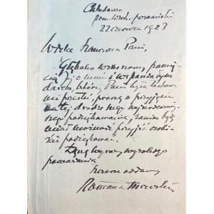 DMOWSKI Roman(1864-1939)- list do Marii Paruszewskiej
