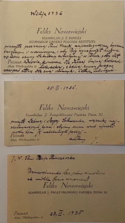Feliks Nowowiejski(1877-1946)- zestaw 3 wizytówek