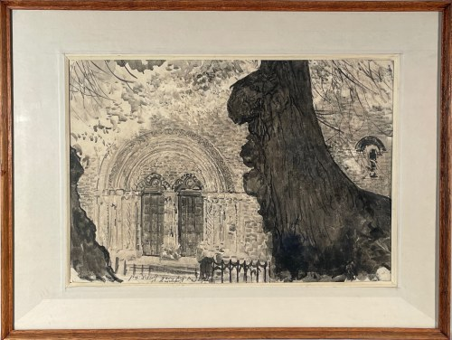 Leon Wyczółkowski(1852-1936), ''Portal kościoła w cieniu drzew''