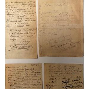 Zestaw 2 listów i 2 kart pocztowych Feliksa Nowowiejskiego
