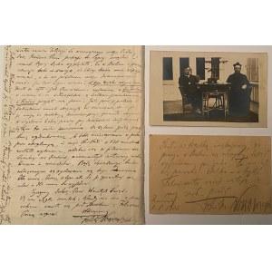 Zestaw list i karta pocztowa Feliksa Nowowiejskiego oraz zdjęcie Ludomira Różyckiego
