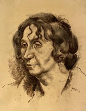 Hieronim Malina(1891-1948), ''Portret kobiety z lokami''