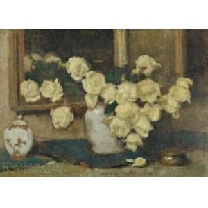 Alfons KARPIŃSKI (1875-1961), Martwa natura z żółtymi różami (1934)