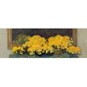 Alfons KARPIŃSKI (1875-1961), Żółte kwiaty w wazonie (1940)