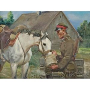 Jerzy KOSSAK (1886-1955), Żołnierz pojący konia (1937)