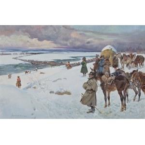 Jerzy KOSSAK (1886-1955), Napoleon ze sztabem obserwujący przeprawę wojska przez Dniepr (1929)