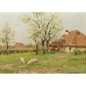 Adam SETKOWICZ (1876-1945), Pejzaż wiejski z chatami (1942)