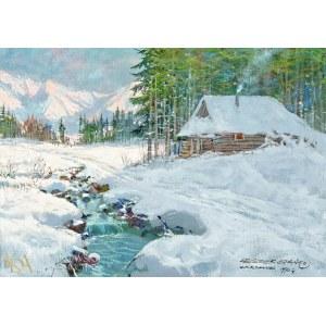 Leszek STAŃKO (1924-2011), Pejzaż zimowy z potokiem tatrzańskim (1990)