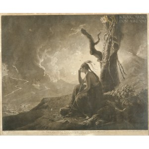 John Raphael SMITH (1751-1812), The Widow of an Indian Chief watching the Arms of her deceased Husband (1789)