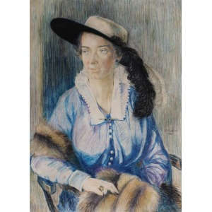 Zofia PLEWIŃSKA-SMIDOWICZOWA, PORTRET DAMY W KAPELUSZU Z PIÓREM, 1916