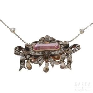 Naszyjnik dekorowany turmalinem i diamentami, Francja, kon. XIX w.