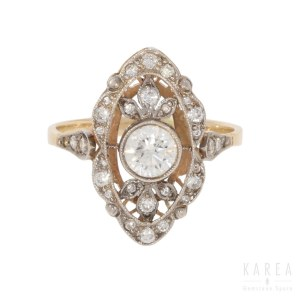 A diamond marquise shaped ring, 1920s
