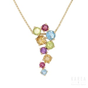 A multi gem pendant with a chain, 20th century