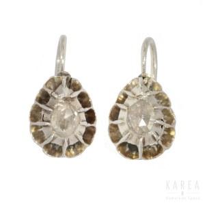 A pair of diamond earrings, 19th century