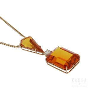 A citrine set necklace, 20th century