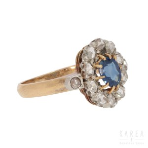 A sapphire and diamond cluster ring, late 19th/early 20th century