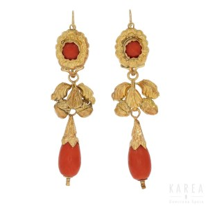 A pair of 'day and night' coral drop earrings