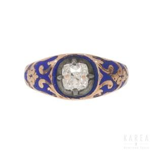 Pierścionek dekorowany emalią kobaltową, XIX w.