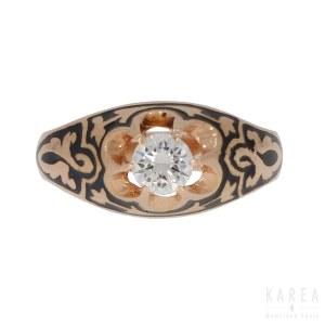 A diamond signet ring, Russia, 20th century