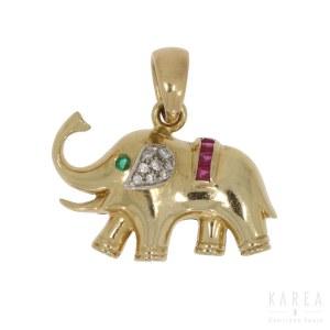 Wisiorek w formie słonia, Włochy, XX w.