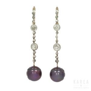 A pair of Tahiti pearl drop earrings, 1st half of 20th century