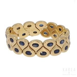 A sapphire set sectional bracelet, Chaumet, Paris, 20th century