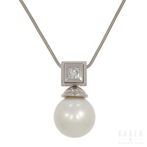 A pearl and diamond set necklace, contemporary