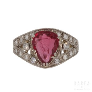 A ruby and diamond ring, Warsaw, 20th century
