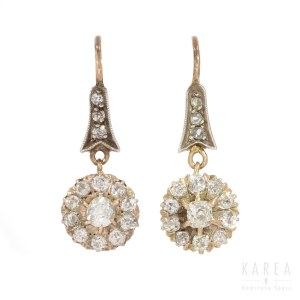 A pair of diamond drop earrings, 20th century